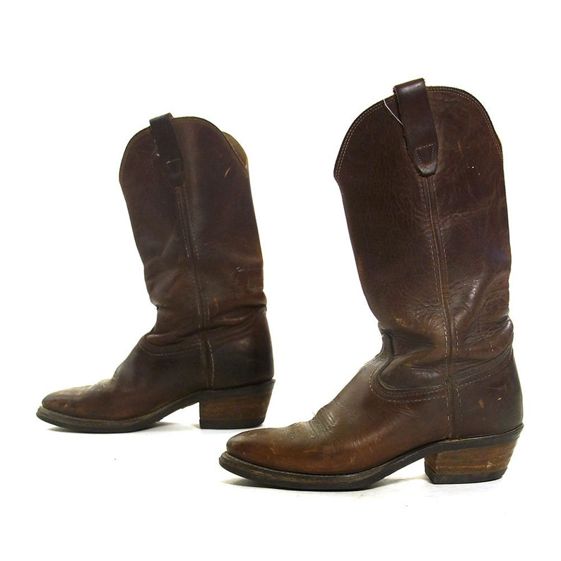 2ef3676b228 SOFT Brown Leather Cowboy Boots Vintage Mid Calf Pull On Western Boots Low  Block Tapered Heel Women's Size 7
