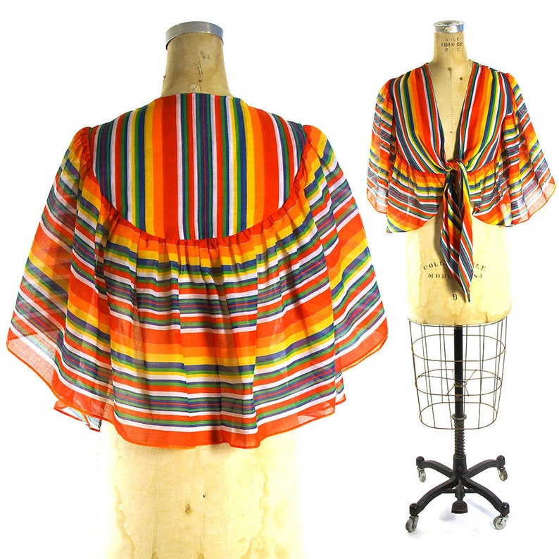 c921d86276 Rainbow Crop Top Vintage 60s Ruffled Cha Cha Capelet Hippie