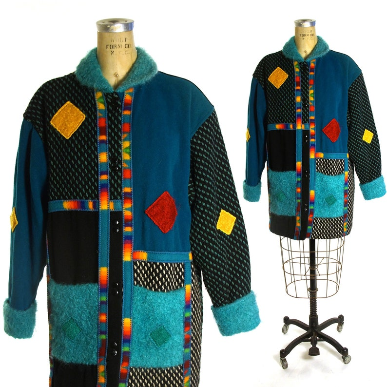 Coloratura Color Block Wool Coat Vintage 80s Rare Avant Garde  5fe214638