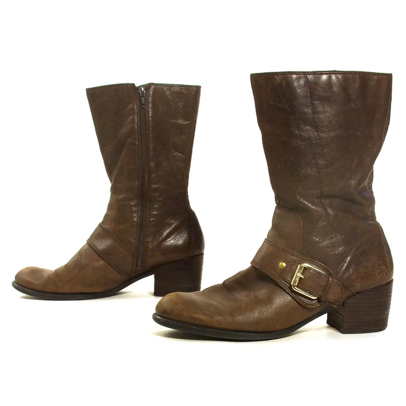 978601061e3 Nine West Ankle Boots Vintage 90s Brown Leather Zip Up Medium