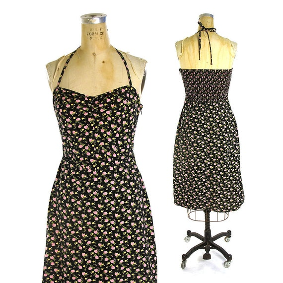 Betsey Johnson Dress Vintage 90s Grunge Hippie Boho Floral  b3a009613