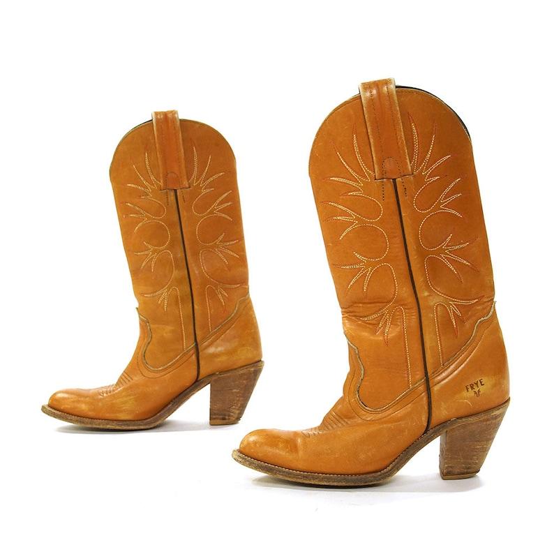 698daa11b46 FRYE High Heel Cowgirl Boots Vintage 70s Brown Leather Western | Etsy