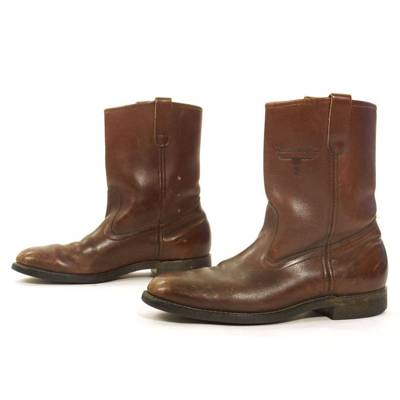 e9f25abf1f4 Brown Leather Motorcycle Boots Vintage 90s Country Western Cowboy Ankle  Boots Boho Rocker Low Heel Work Boots Women's Size 10 Men's 8.5