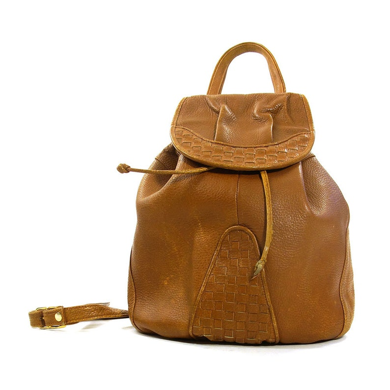 64f2c0f5018c Brown Leather Backpack Vintage 90s Italian Drawstring Bucket