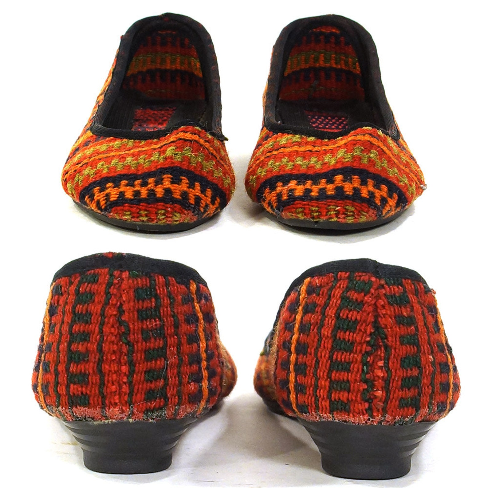 kilim ballet flats vintage 90s slip on carpet loafers woven ethnic boho hippie southwestern tapestry shoes round toe stripe patt