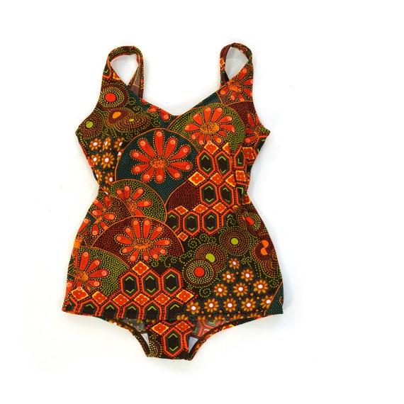 Vintage 60s Mod One Piece Swimsuit Women's Small
