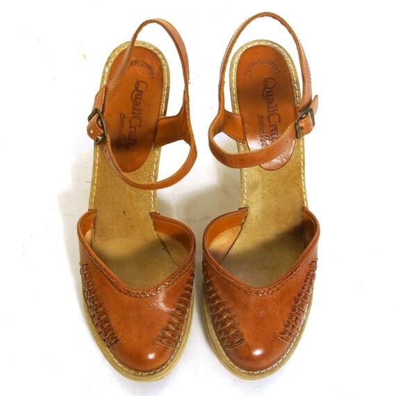 Vintage 60er 70er Jahre Leder Ballerinas Sandalen 6 7 Orange