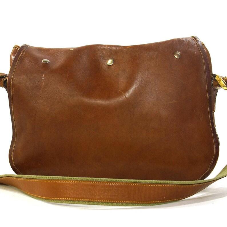 Loewe Messenger Bag Vintage 90s Large Brown Leather   Green  4c27c93289adc