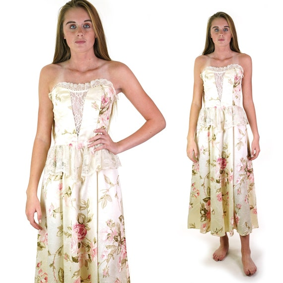 Gunne Sax Satin Strapless Dress with Cabbage Rose