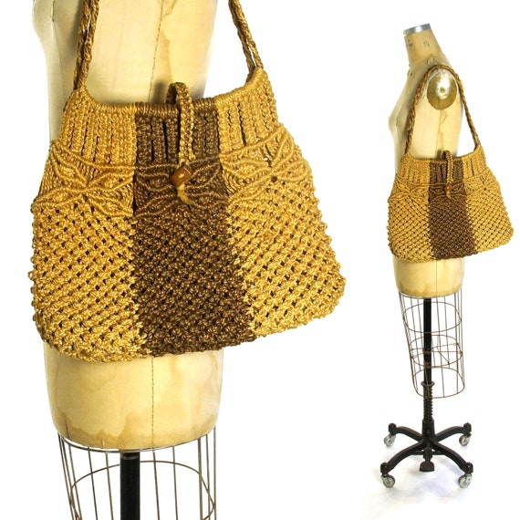 Macrame Purse Vintage 70s Handmade Sisal Basket Ba