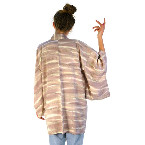 Lavender Mist Silk Kimono Vintage One Size