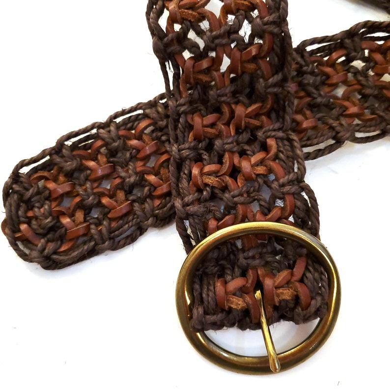 Wide Woven Leather Belt Vintage 70s Jute /& Leather Adjustable Hippie Belt