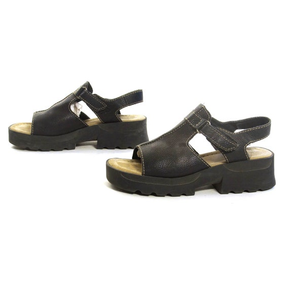 Grunge Sandals Vintage 90s Chunky Black Leather Open Toe Platforms with Ankle Strap Women's Size 6.5