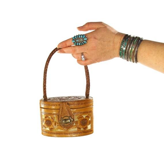 Mini Tooled Leather Handbag Vintage 50s Tiny Embos