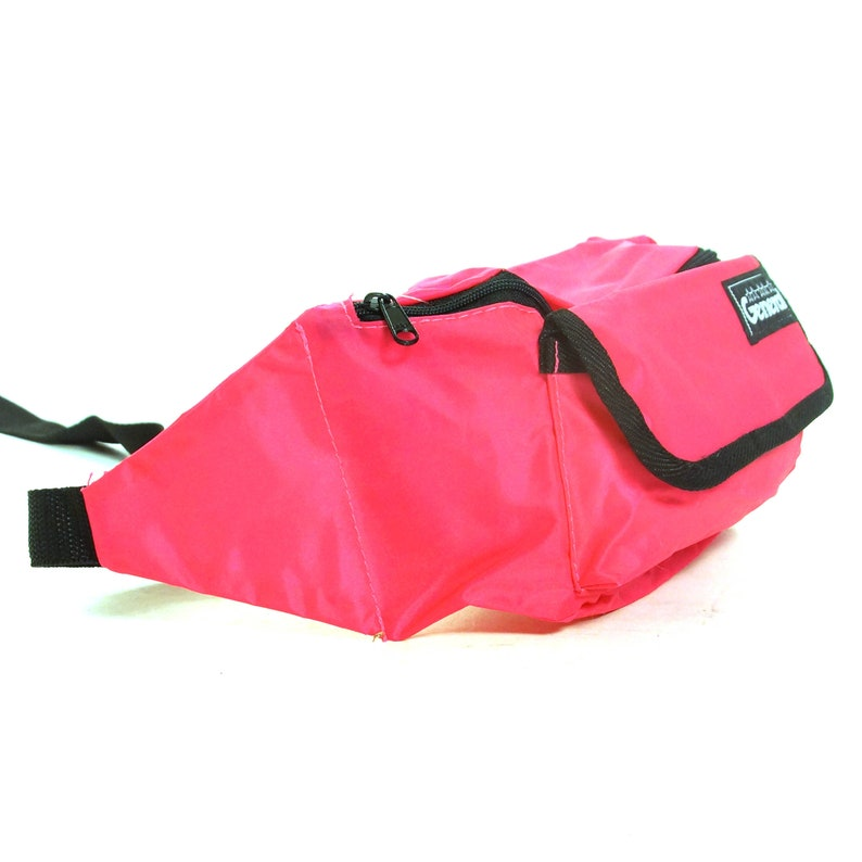 Nylon Fanny Pack Vintage 90s Neon Pink Hip Pouch with Pockets and Adjustable Waist Strap