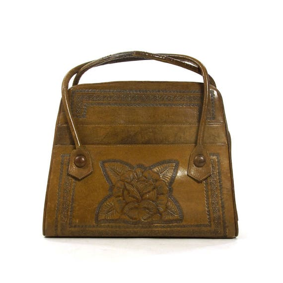 42cd9fa44691 50s Tooled Leather Purse   Vintage 1950s Distressed Leather