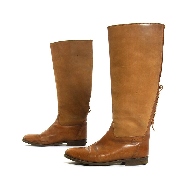 7f0143b5809 Brown Leather Riding Boots Vintage 90s Timberland Knee High Equestrian  Boots Women's Size 9