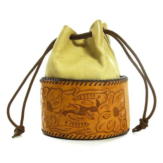 Tooled Leather Purse Vintage 70s Handmade Hippie B