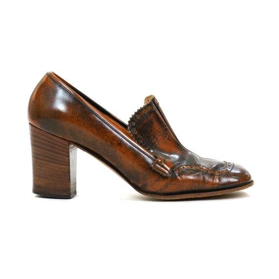 60s Mod Custom Made Leather High Heel Wingtip Loaf