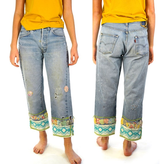 Levi's 501 Jeans Distressed & Altered with Boho Pa