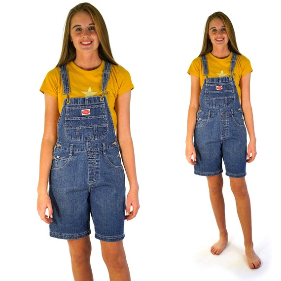 Denim Overalls Shorts Vintage 90s Jeans Overalls C