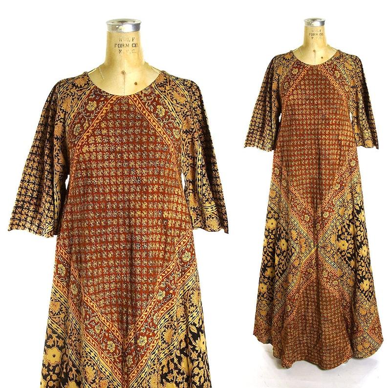 53cb189406 70s Indian Cotton Caftan Vintage Boho Ethnic Dress Angel | Etsy
