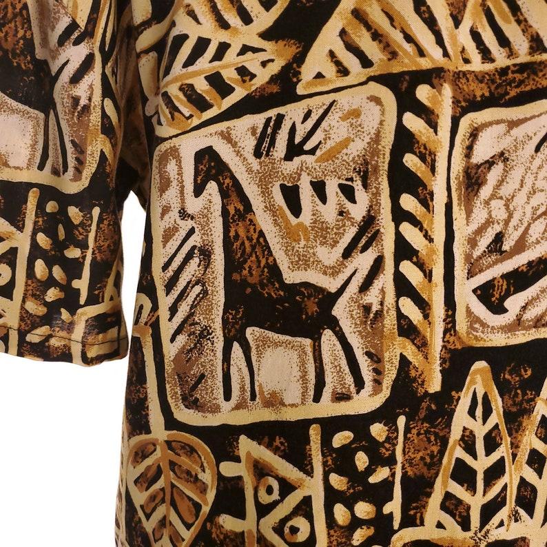 Abstract Animal Print Rayon Shirt Vintage 90s Tribal Novelty Button Up Shirt Women/'s Size Medium