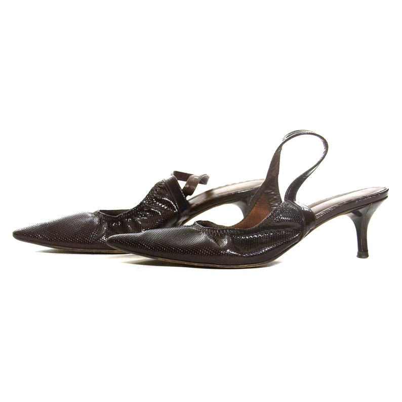 b16517f8f07a1 Donald Pliner Kitten Heel Slingbacks Vintage 90s Perforated Brown Leather  Low Architectural Heel Pointy Toe Pumps Womens Size 7.5