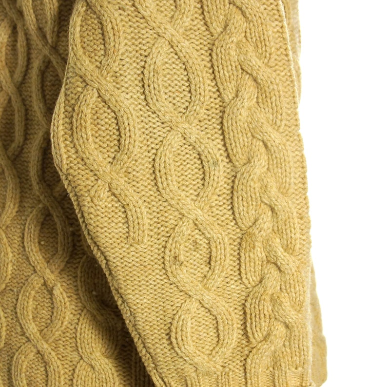 SOFT Lambswool Sweater Vintage 90s Oversized Slouchy /& Long Camel Cableknit Wool Cardigan Women/'s Size Medium