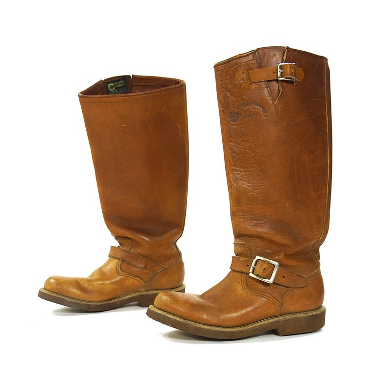 30b023f847e8 Chippewa Motorcycle Boots RARE Vintage 70s Brown Leather