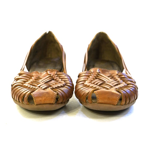 Woven Brown Leather Huarache Sandals Vintage Women