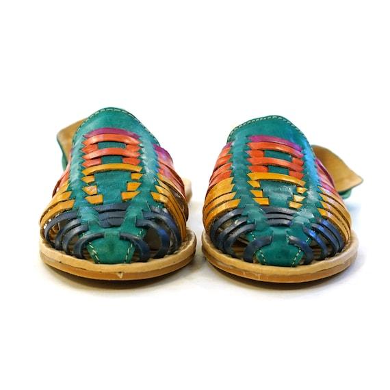 Woven Multi Colored Leather Huarache Sandals Vinta