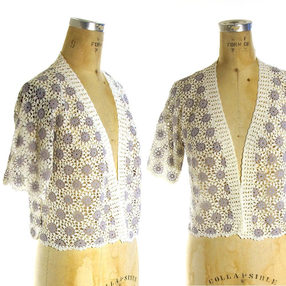 b9be02f442e Crochet Cardigan Vintage 70s Boho Open Knit Lace Sweater | Etsy