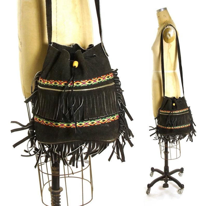 b174db4ef365 Fringed Drawstring Bucket Bag Vintage 60s Black Suede Hippie Boho Slouchy  Hobo Crossbody Shoulder Strap Purse with Embroidered Trim
