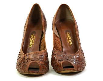 Qualicraft Woven Leather Peep Toe Pumps Vintage 70s Women's Size 7.5