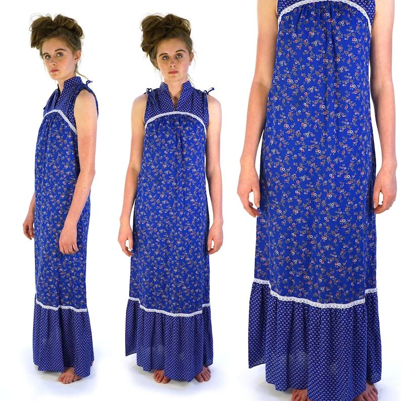Indian Cotton Sundress Vintage 70s Handmade Boho Sleeveless Maxi Dress Size Extra Small