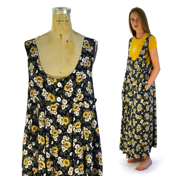 90s Floral Rayon Baby Doll Maxi Dress Vintage Size