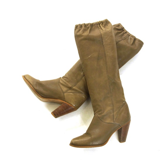 80s Slouchy Leather Boots Vintage Knee High Mushro