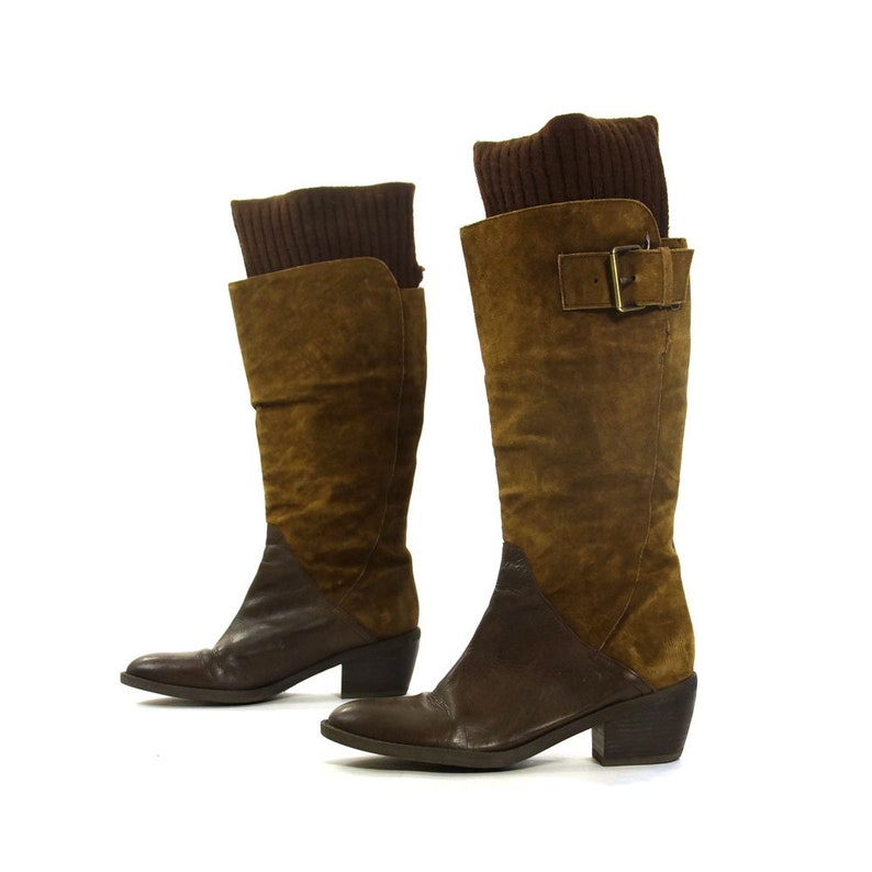 1a7acf2deeb2 Suede   Leather Boots Vintage 90s Tall Knee High Pirate Riding