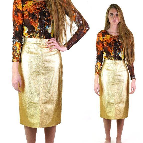 French Metallic Gold Leather Pencil Skirt Women's