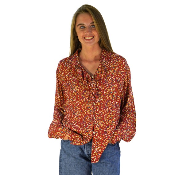 Rayon Ruffle Collar Peasant Blouse Women's Size Ex