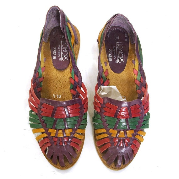 Leather Huaraches Vintage 90s Woven Multi Colored Leather Slides Slip On Low Heel Flats Closed Toe Sandals Women's Size 8