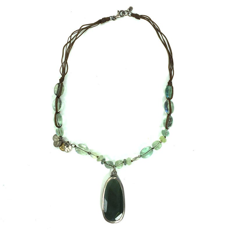Silpada Multi Gemstone Necklace Vintage Retired Green Beaded Glass /& Stone Necklace with Pendant on Silk Cord Boho Hippie Statement Jewelry