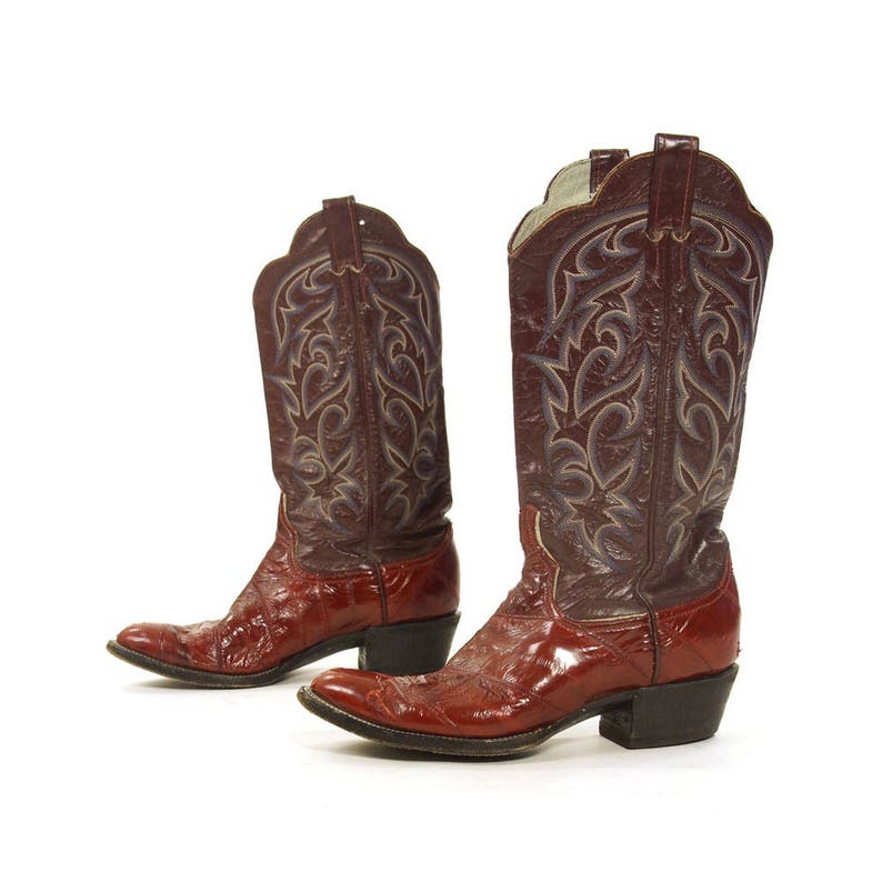 fc32bbd1a83 Tony Lama Cowboy Boots Vintage Burgundy Leather and Eel Tall Pull On  Western Riding Boots Flame Embroidery Women's 10.5 Men's 9