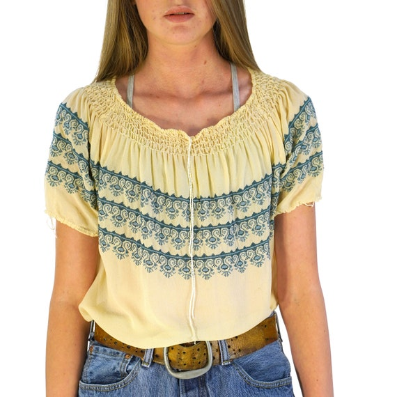 European Embroidered Peasant Blouse Vintage 70s Wo