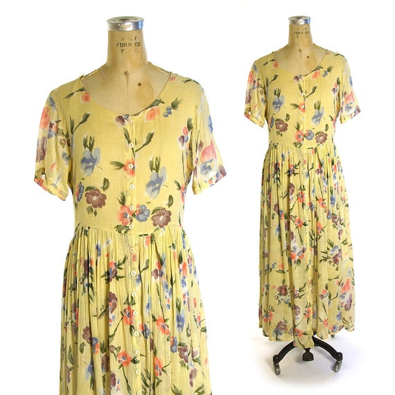 4a114fbe96 Grunge Sheer Cotton Button Down Maxi Dress Vintage 90s Floral