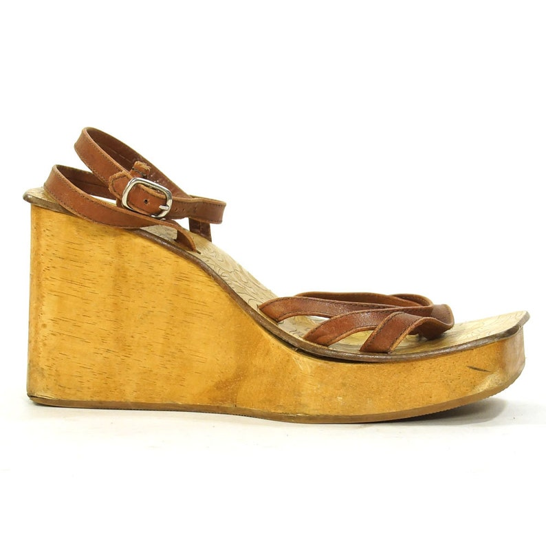 Platform Sandals Vintage 90s Wooden Wedges Strappy Leather Open Toe Clogs By Candies Hippie Boho Club Kid Womens Size 7