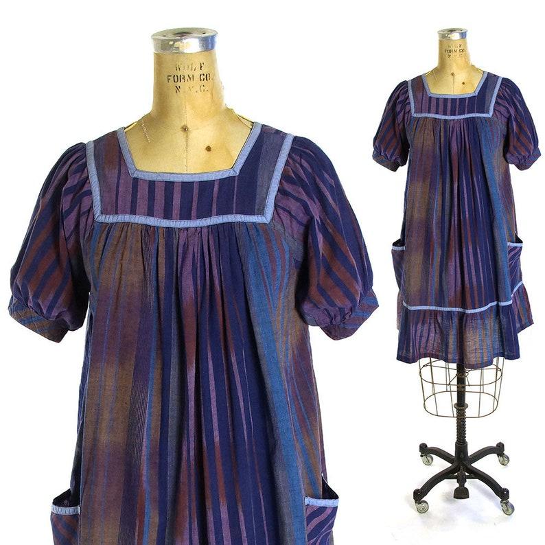 20e4dbb758 Indian Cotton Peasant Dress Vintage 70s Bohemian Sundress Blue