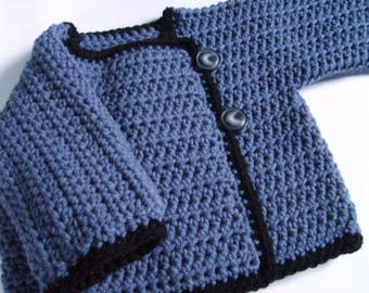 crochet pattern digital download baby sweater 2 patterns with sizes newborn to toddler classic play time sweater