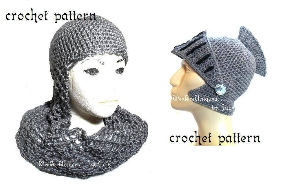 2 Knight Hats Crochet Pattern Digital Download Chainmail Coif Etsy